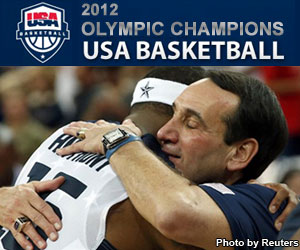 2012 Olympic Men's Basketball Champions - Coach Hugging a basketball player